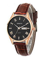 Men's Sport Watch Dress Watch Fashion Watch Quartz Leather Band Casual Black Brown White/Brown Black/White Brown black Black
