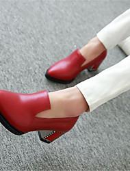 Feminino-Saltos-Conforto-Salto Grosso Salto de bloco--Couro Ecológico-Casual