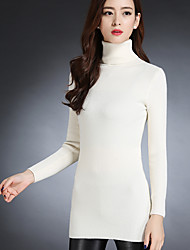 Sign new winter ladies turtleneck sweater and long sections Slim package hip bottoming knit sweater hedging thick