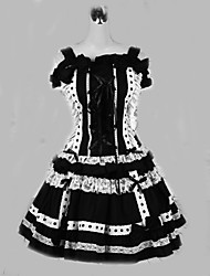Une Pièce/Robes Gothique Lolita Cosplay Vêtrements Lolita Mosaïque Couleur Pleine Manches courtes Court Robe Pour Coton