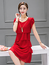 Women's Going out Casual/Daily Sophisticated Loose Dress,Solid Round Neck Above Knee Short Sleeve Summer