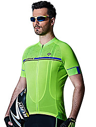 SANTIC Cycling Jersey Men's Short Sleeve Bike Breathable Quick Dry UV resistance Sweat-wicking Jersey 100% Polyester SolidSpring Summer