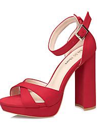 Damen-Sandalen-Kleid-Wildleder-Blockabsatz-Komfort-