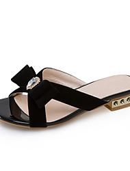 Women's Slippers & Flip-Flops Summer Fall Slingback Fleece Dress Casual Low Heel Bowknot