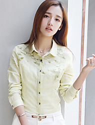 Real shot 2016 autumn new Korean Fan Women printing cotton shirt female long-sleeved shirt