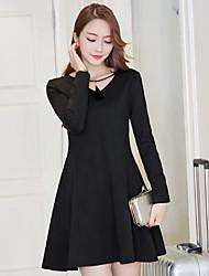 Sinal 2017 primavera nova versão coreana de slim fino bottoming saia casco este pouco vestido preto grande swing um vestido de linha