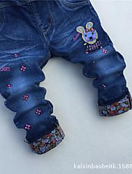 Para Meninas Jeans Casual Floral Primavera