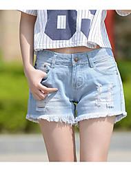 Damen Niedlich Mittlere Hüfthöhe Dehnbar Jeans Kurze Hosen Lose Hose einfarbig