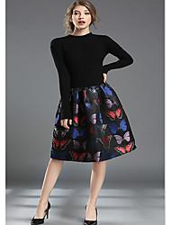 repérer vrai coup chez les femmes et l'europe amérique&# 39; nouveau tricot robe jupe jacquard coutures une ligne élastique mince