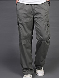 Masculino Simples Cintura Média Micro-Elástica Chinos Calças,Solto Sólido