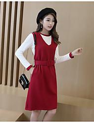 Знак 2017 весна новый корейский с длинными рукавами платье юбка тонкий женский ремень моды платье из двух частей костюм