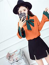 assinar 2017 Primavera nova cor coreano moda feitiço com uma manga chifre arco camisa selvagem slim