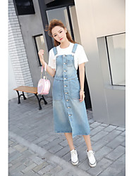 Sign 2017 Korea retro single-breasted long section of loose denim strap dress Dress