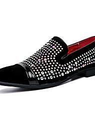 Herren Schuhe Leder Frühling Herbst Mokassin Loafers & Slip-Ons Walking Glitter Für Hochzeit Normal Party & Festivität Schwarz