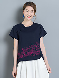 8017 Sommer neue Frauen&# 39; s nationale Windbaumwolle lose kurz-sleeved T-Shirt Modelle wild