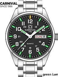 New Carnival Tritium Light mens Watch Quartz Double calendar Date Tritium Luminous Waterproof Military diving Watches full steel