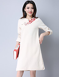 Literary original hand-embroidered cotton women's 2017 spring thickening jacquard cotton long-sleeved gown split