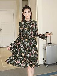 signe nouvelle robe en mousseline de soie floral printemps 2017 était mince