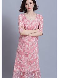 Sign 2017 spring new solid color elegant embroidered silk short-sleeve round neck Slim long dress