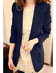 Women's Going out Casual/Daily Cute Spring Fall Blazer,Solid Shirt Collar Long Sleeve Long Acrylic