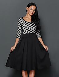 Women's Black Polka Dots Scoop Neck Sleeved Casual Swing Dress