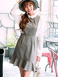 Sign new doll collar long-sleeved dress fishtail skirt autumn ladies high pockets hip skirt fake two
