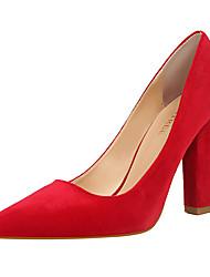 Feminino-Saltos-Conforto Sapatos clube-Salto Grosso-Vermelho Verde Rosa claro Azul Real Vinho-Flanelado-Escritório & Trabalho Social