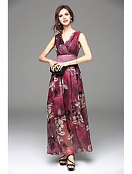 2016 boêmia nova colocar em uma seção longa vestido grande chiffon