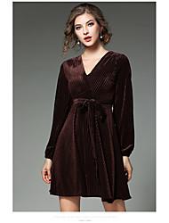 Signe -2017 au début du printemps nouvelle v-neck sexy veste plissée robe belle bande de velours