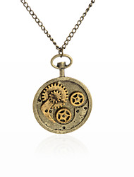 Vintage Round Pendant Necklace Gear Charm Steampunk Necklaces-Gear