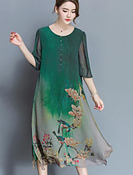 Sign silk dress high-end spring new female big yards loose 100% silk print dress was thin