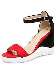 Feminino-Sandálias-Sapatos clube-Anabela-Bege Vermelho Azul-Courino-Casual