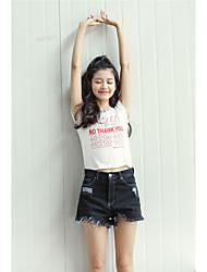 Signer la version coréenne de la rétro taille haute denim shorts féminin aa taches bords dénudés denim pantalon jambe large