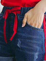 2017 spring new small fresh striped denim shorts elastic waist pants Korean version of the popular