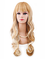 Long Length Body Wave Natural Looking Fashion Hairstyle Blonde Mixed Color with Full Bang Heat Resistant Synthetic Wig