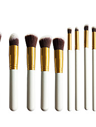 New 10 Gold White Face Eye Lip Makeup Brush Sets Shading Brush Brush Highlights Beginners Essential Professional Makeup Brush Bag Mail