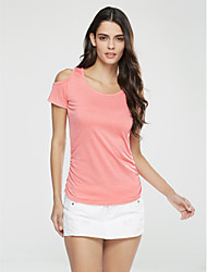 Damen Solide Sexy / Street Schick Ausgehen T-shirt,Rundhalsausschnitt Kurzarm Blau / Rosa / Weiß / Schwarz Baumwolle Dünn