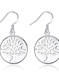 Concise Silver Plated Clear Crystal Christmas Tree Round Dangle Earrings for Wedding Party Women Jewelry Accessiories