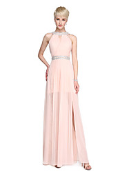 2017 Lanting Bride® Floor-length Chiffon Beautiful Back Furcal Bridesmaid Dress - Sheath / Column High Neck with Beading Split Front Pleats