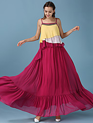 Flowing color summer new women's national wind hit color flounced chiffon halter dress
