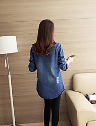 Zeichen 2016 neue koreanische lange Abschnitt der losen Frauen Casual Denim-Shirt Jacke Denim Jacke Loch