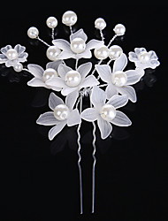 2 Pieces Pearl Crystal Alloy Acrylic Headpiece-Wedding Special Occasion Casual Hair Clip Hair Pin Hair Stick Hair Tool