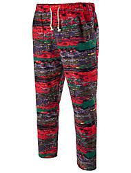 Masculino Simples Moda de Rua Activo Cintura Média Micro-Elástico Chinos Calças Esportivas Calças,Solto Harém Estampado