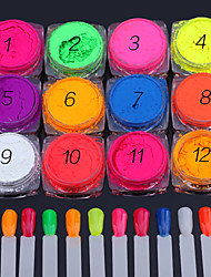 12PCS Nail Art  A Series Of Fluorescent Toner