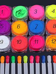 12pcs nail art une série de toner fluorescent