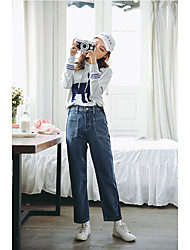 Sign yoke 2017 spring new Korean side stitching big pocket jeans female