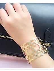 Femme Manchettes Bracelets Alliage Amitié Gothique Mode Style Punk Hip-Hop Pierre Forme de Cercle Or Argent Bijoux 1pc