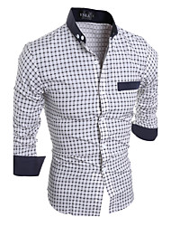 Men's Casual/Daily Simple All Seasons Shirt,Plaid Button Down Collar Long Sleeves Cotton Polyester