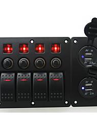 rouge iztoss conduit DC12 / 24v 4 bande interrupteur marche-arrêt panneau incurvé bascule et coupe-circuit avec des étiquettes
