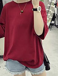 Sob a gordura real do tiro milímetro seção longa de jardas grandes frouxas panties algodão da cor sólida sleeved curto t-shirt 6535